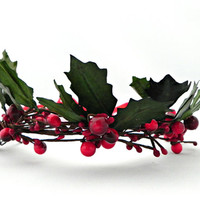 Mistletoe Crown: Mistletoe Crown for women, handwoven, green and red hair accessory, Christmas party, Christmas kiss, holiday party