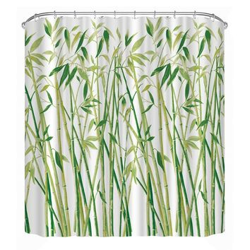 Waterproof Shower Curtain 3D Green Bamboo Decorations Printed Bathroom Curtains Polyester Shutter For Bathroom