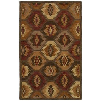 SU8152 Southwest Hand-Tufted Area Rug, 5-Feet by 8-Feet, Southwest, Brown By Rizzy Home