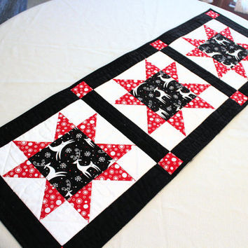 Reindeer Table Runner Christmas Quilt in Black Red and White, Quilted Table Runner