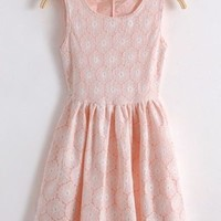 Kawaii Lolita Lace Hollow Out Hook Flower Sleeveless Dress - Pink, Beige or Green from Tobi's Finds