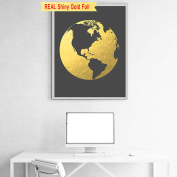 Gold Foil Globe Map Art, Globe Decor, Globe Wall Art, World Map Print, World Map Decor, World Map Framed, World Map Large, World Map Nursery