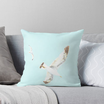 'Seagulls Flying' Throw Pillow by by-jwp