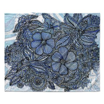 "Julia Grifol ""Blue Flowers In My Garden"" Aqua Navy Fleece Throw Blanket"