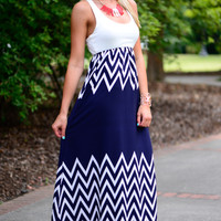 Out At Sea Maxi, Navy/White