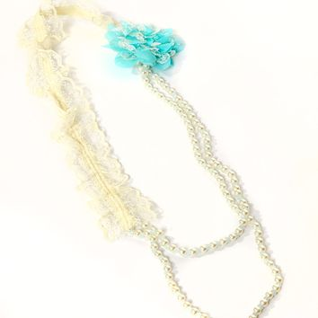 Pearl and Lace Necklace with Turquoise Flower
