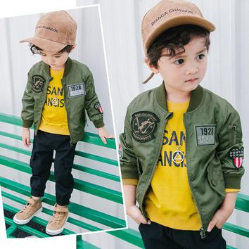 2017 New Children Bomber Jacket Autumn Winter Boys Embroidery Jackets Sports Outwear Coats for Boys