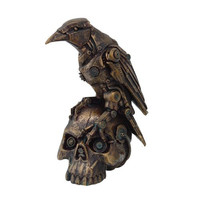 STEAMPUNK DARK CROW RAVEN SETTING ON SKULL SKELETON SCULPTURE STATUE