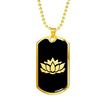 Lotus Flower v2 - 18k Gold Finished Luxury Dog Tag Necklace