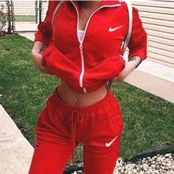 Nike Fashion Long Sleeve Shirt Sweater Pants Sweatpants Set Two-Piece Sportswear G