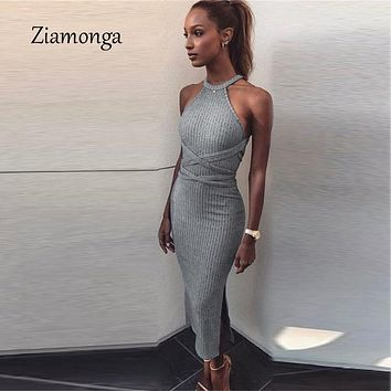 Halter Backless Cross Bandage Dress Sexy Off Shoulder Split Bodycon Knitted Dress Autumn Sleeveless Slim Women Dresses