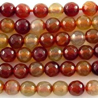 Red Agate Faceted Round Gemstone Beads 6mm (GS3178)