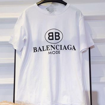 DCCKR2 Balenciaga summer new temperament double black and white short-sleeved t shirt short top cotton bottom clothing