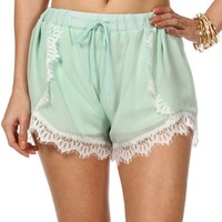 MintWhite Lace Trim Shorts