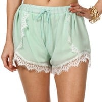 Mint/White Lace Trim Shorts