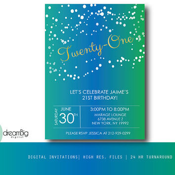 Gold 21st Birthday Invites, Invitations, Digital Invites, Adult Party Invites, Surprise Party, 30th Birthday, 40th Birthday, 50th Birthday