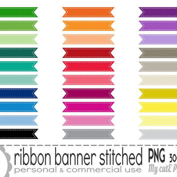 Stitched ribbon banner - Clipart - 30 colors - PNG 300 dpi - Instant download