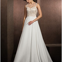 A-line Jewel Floor-length Lace And Satin Chiffon Wedding Dress (1483957)