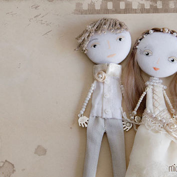 Personalized Art Dolls Bride & Groom Wedding Mixed by miopupazzo
