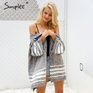 Hooded knitting sweater cardigan female Flare sleeve loose striped jumper New casual winter sweater women