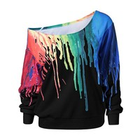Hand-painted bat sleeve shoulder long sleeve head sweater jacket blouse