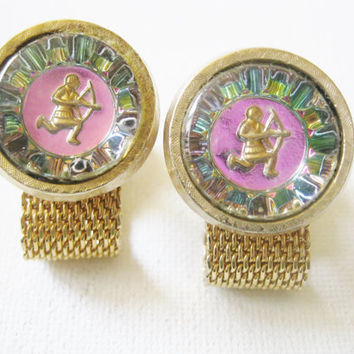 Father's Day Gift, Gift for Dad, Vintage Sagittarius Cufflinks Designer Signed Hickok Sagittarius the Archer Cuff links