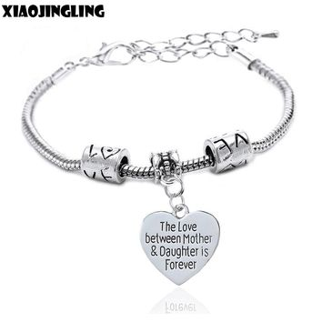 "XIAOJINGLING ""The Love between Mother&Daughter is Forever"" Fashion Bracelet Bangles Women Jewelry Mothers Gifts Daughter Gifts"