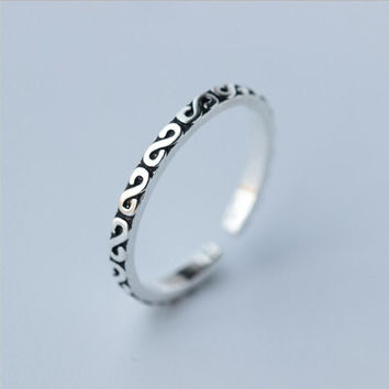 Shuangshuo 925 Thai Silver Rings for Women Adjustable Simple Letter Rings for Girls Birthday Gifts
