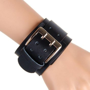 Wide Leather Punk Big Double Buckle Bracelet