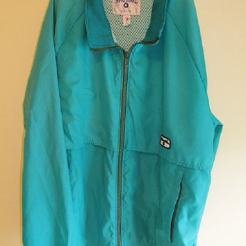 Men's Vintage 1980's Teal Spalding Lightweight Windbreaker Jacket Sz L