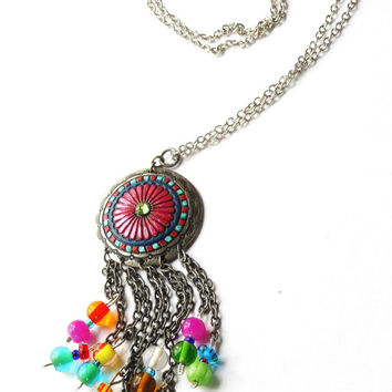 Funky Boho Necklace Hand Painted Colorful Beads Dangling Festival Jewelry