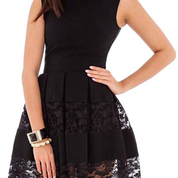 made2envy Lace Accents Sleeveless Skater Dress