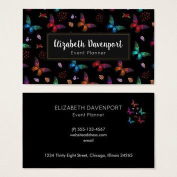 Elegant Colorful Butterflies Pattern on Black Business Card