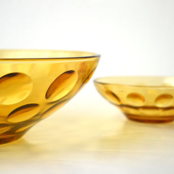 Retro Vintage Amber Bubble Glass Chip and Dip Set 1970s