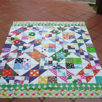 Unfinished Quilt top-Scrap quilt top-Unfinished baby quilt top,quilt top,lap quilt,bright colored scrappy quilt top,quilttop,Scrap Magic