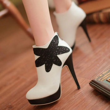 Appliques Ankle Boots Platform Pumps High Heels Spike Shoes Woman 3286 3286
