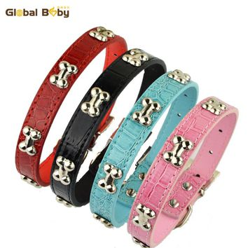 Hot Sale Brand Global baby Studded Bones Charms PU Leather Pet Necklace Dog Collar