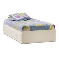 White Twin Size Mates Platform Bed with 2 Drawers