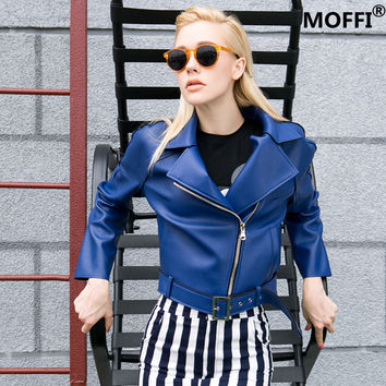 Blue Innovative PU Leather Ladies Strong Character Jacket [8082659783]