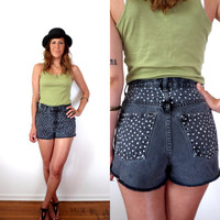 Faded Black Polka Dot High Waisted Denim Shorts 28 Upcycled GAP Cut Offs Bleached