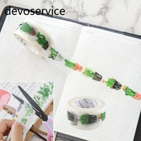 25mm X10m Cute Kawaii Cactus  Masking Washi Tape Decorative Adhesive Tape Decor  Diy Scrapbooking Sticker Label Stationery