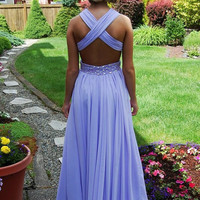 lavender backless prom dress , long chiffon open back evening dress , ball gown , formal dress , pageant wedding party homecoming dress