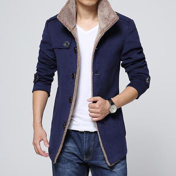 2017 new mens clothing dark blue coat lambs wool woolen jacket collar male fashion classic outwear spring & autumn Wool & Blends