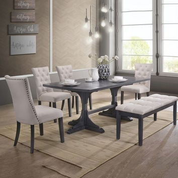Best Quality D44-6PC 6 pc Paulina collection antique gray finish wood double pedestal dining table set