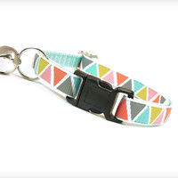 "Cat Collar - ""Bizarre Love Triangle"" - Tribal Geometric on Mint"