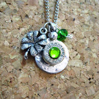 Bullet casing Shamrock necklace - Ammo charm with four leaf clover - good luck charm necklace
