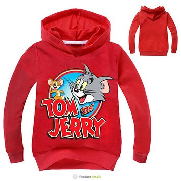 Z&Y 3-16Years Manteau Garcon 2017 Fall Tom and Jerry Clothing Boys Jacket Hooded Sweatshirts & Hoodies Kids Doudoune Fille 1676