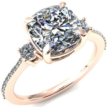Bonnie Cushion Moissanite 4 Claw Prong 2 Rail Basket Round Sidestones Inverted Cathedral Diamond Accent Engagement Ring