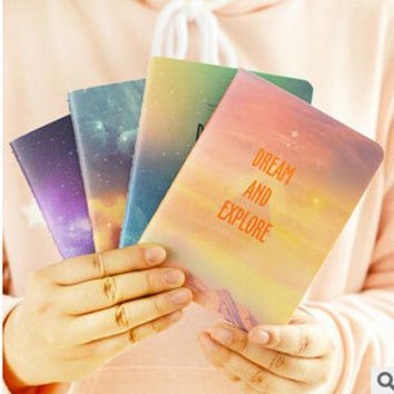 ICIK272 Fantastic Galaxy Star Sky A6 Notebook Diary Book Exercise Composition Notepad Escolar Papelaria Gift Stationery