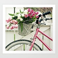 Pink Bike and Tulips Art Print by simplyhue | Society6